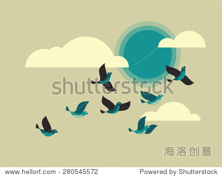 飞鸟在天空中云层和太阳. - 动物/野生生物,艺术