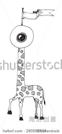 插图奇怪有趣的动物长颈鹿眼头和一个标记