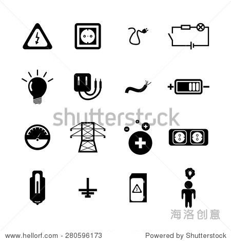 矢量图标设置在白色背景黑色电