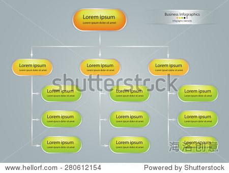 椭圆形组织图表信息,业务结构概念,业务流程图工作过程中,向量插图.
