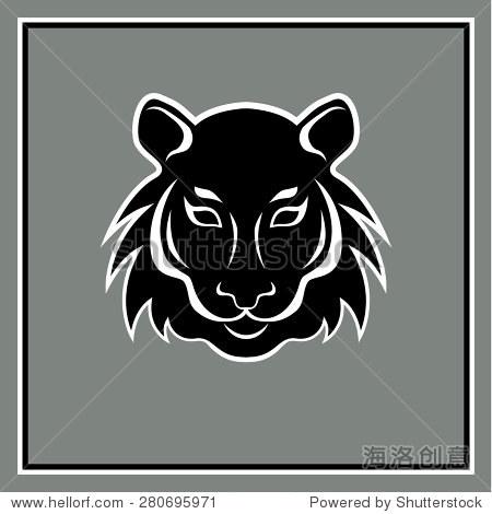 的老虎头标志.矢量图