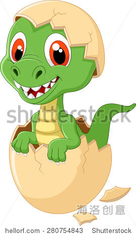 卡通可爱的恐龙孵化