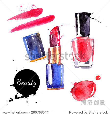Watercolor cosmetics set. Hand painted make up objects: lipstic and nail polish. Vector beauty illustration