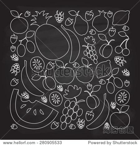 矢量插画手绘水果在平面线性纹理背景的设计风格