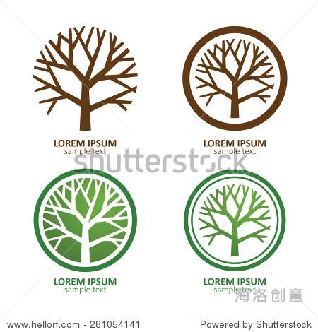 绿色圆圈树矢量标志设计.环保的概念.矢量插图.