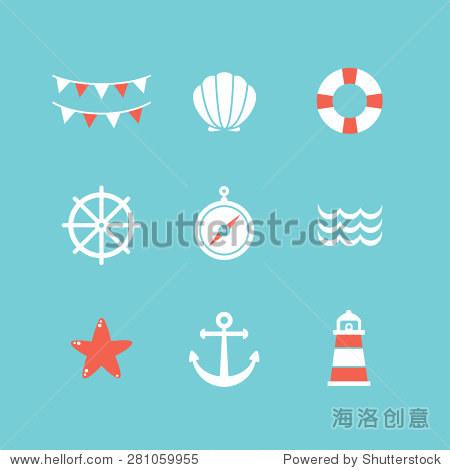 向量组9平的海洋元素,蓝色,白色和红色的颜色.