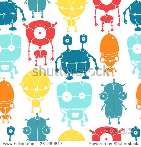 手绘彩色涂鸦机器人.无缝的矢量模式.-背景/素材,科学