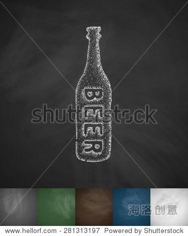一瓶啤酒图标.手绘矢量插图.黑板设计