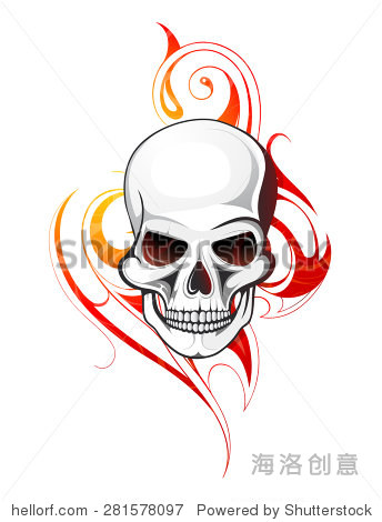 与部落火焰骷髅纹身点缀