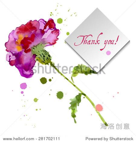 为您的项目红色康乃馨盛开,水彩画