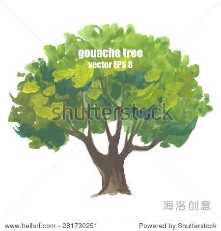 水粉画树,插图画水粉颜料在白色背景.