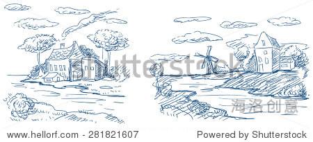 农村景观风车和房屋
