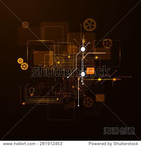霓虹灯电路板,抽象背景,技术
