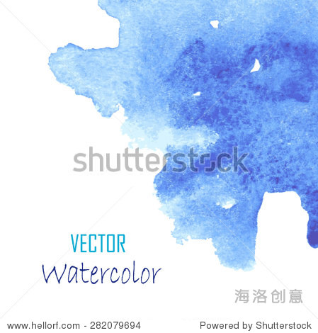 抽象的蓝色水彩手绘背景.蓝色水彩背景——矢量插图.