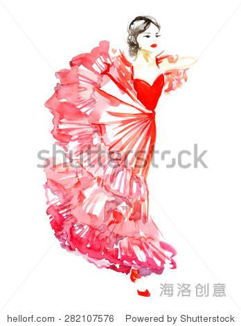 水彩红裙子跳舞的女孩