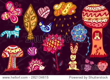 向量无缝模式,涂鸦设计.手绘背景,可爱的森林动物,,和