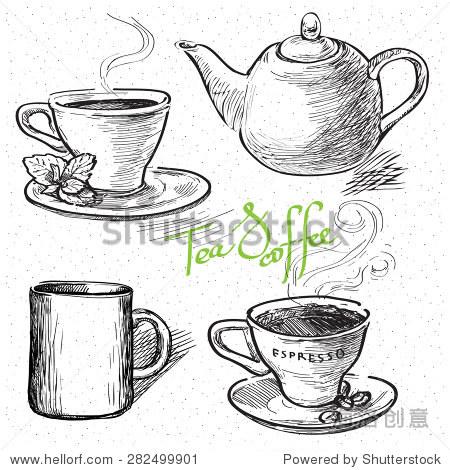一杯咖啡,茶,杯子,茶壶.手绘插图