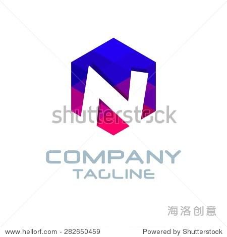 n字母标志图标马赛克图案设计模板元素——蓝色和