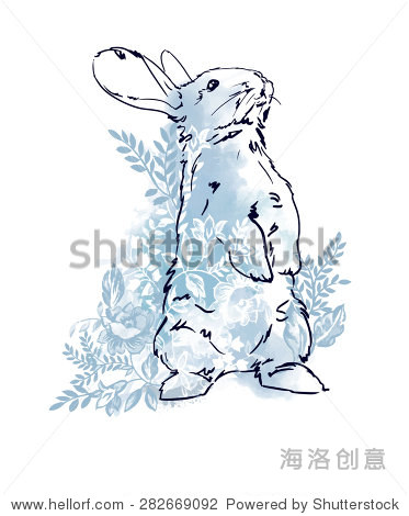 可爱的兔子,兔子素描矢量插图水彩花