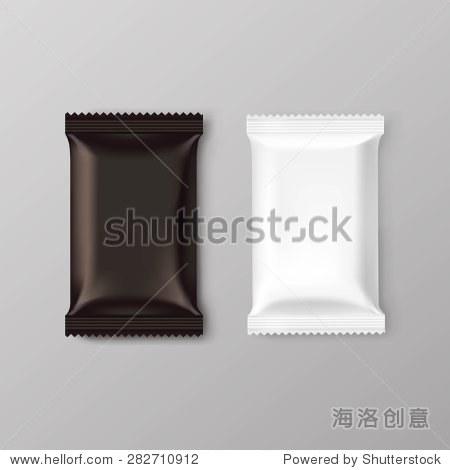 巧克力包包装空白棕色包组孤立的矢量图
