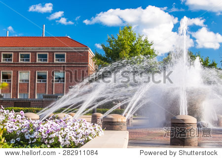 view of the fountain in the campus of purdue university west