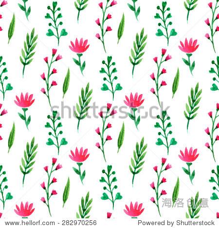 夏花,树枝和树叶.向量水彩画,壁纸,包装,包装,纺织