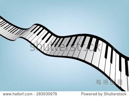 钢琴键盘矢量插图.
