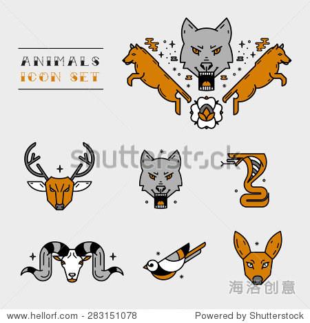 动物头图标.纹身设计
