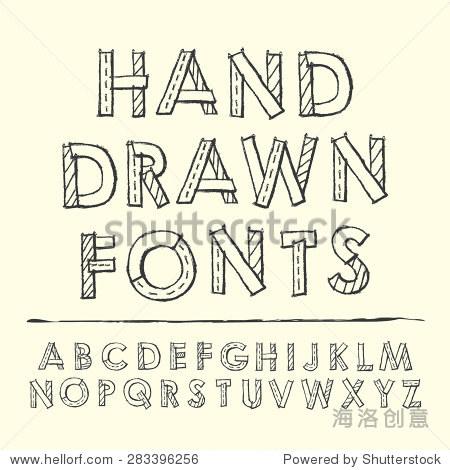 简单手绘字体设计在米色背景-艺术,符号/标志-海洛,,.
