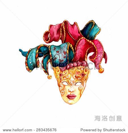 手绘水彩画威尼斯狂欢节面具