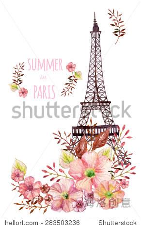巴黎水彩插图.用鲜花手绘埃菲尔铁塔.