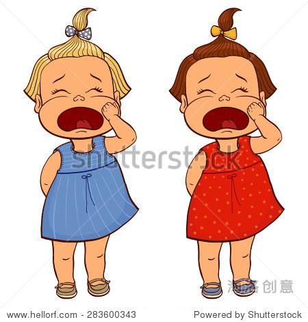 矢量插图可爱可怜的小女孩哭的马尾辫和弓.孤立在白色图片