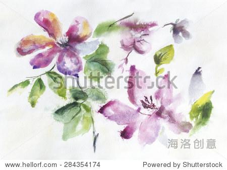 春天抽象花朵和树叶光背景手画水彩