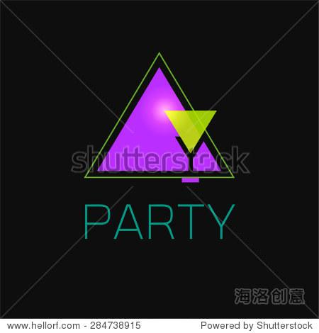 抽象几何标志设计在霓虹灯黑色背景