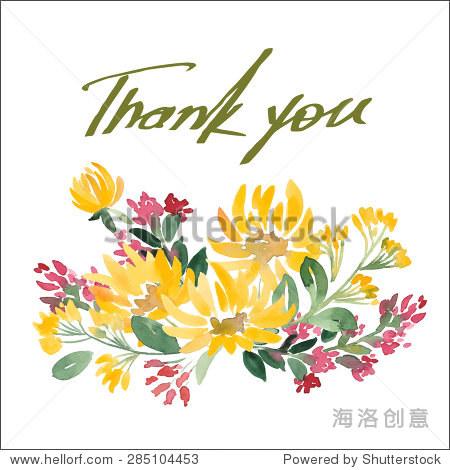 矢量插图的手绘水彩自然鲜花感谢卡