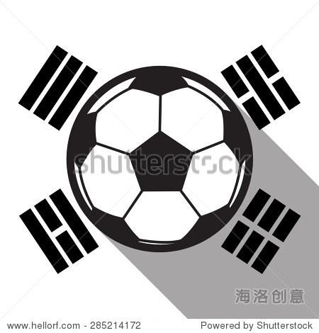 足球图标与韩国国旗背景