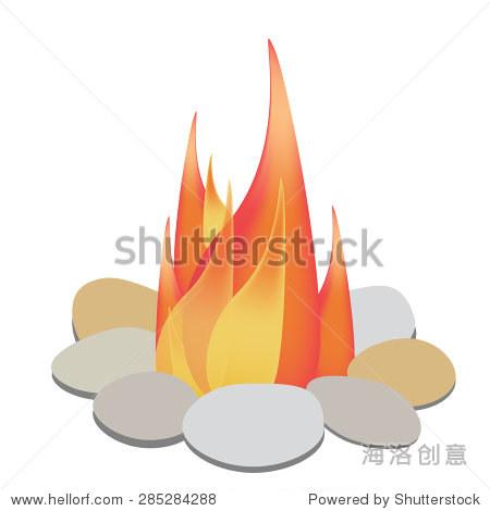 篝火矢量插图.家庭的篝火.篝火用石头