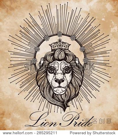 纹章的狮子兔皇冠和光线的光环.孤立的矢量图.
