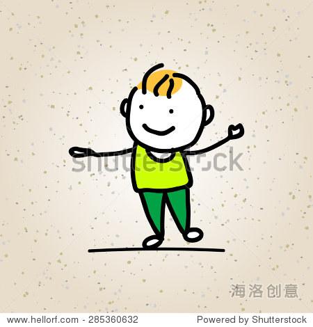 手绘快乐孩子矢量插图 - 人物,抽象 - 站酷海洛创意