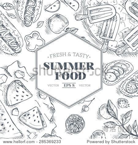 夏天的食物.线性图形.矢量图