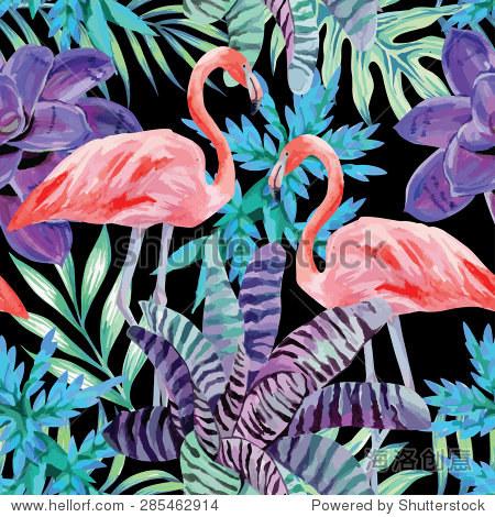 火烈鸟水彩和外来植物无缝的背景 - 动物/野生生物