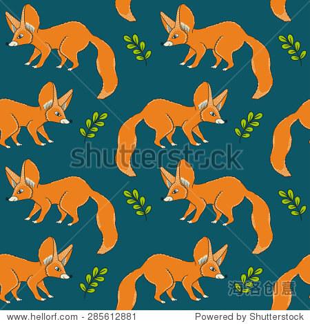 向量无缝模式与可爱的小狐狸用树叶和树枝.手绘森林背景.卡通设计.