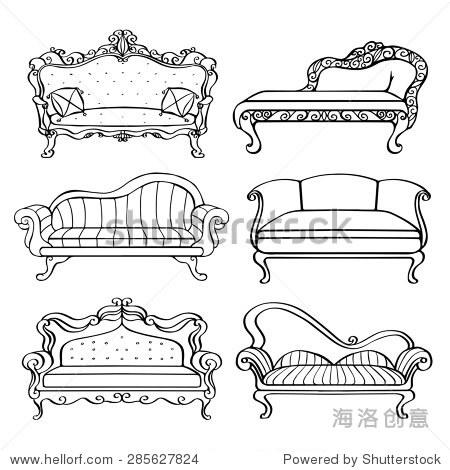 手绘家具,古董沙发,沙发,特写镜头前视图,黑色线条孤立在白色背景