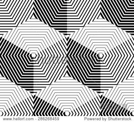 黑白对比对称无缝模式与交织的人物 连续几何构图,在平面设计中使用