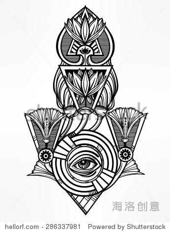 矢量插图孤立.古埃及法老的象征,在线
