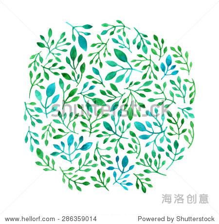 花卉图案的叶子装饰纹理水彩画手绘插图的模板织物设计,邀请,移动界面