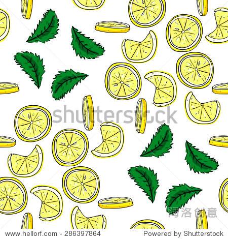 柠檬和薄荷矢量手绘无缝模式.矢量图