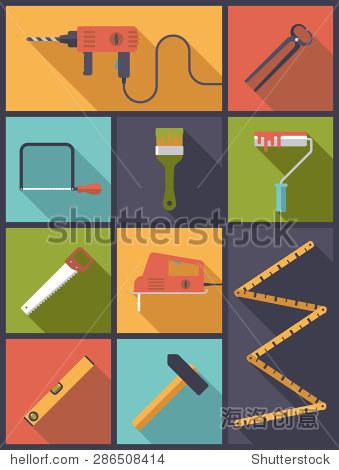 家居装饰工具平图标矢量图.垂直平面设计插图相关的各种图标diy