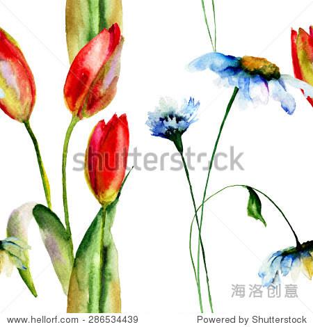 无缝壁纸与雏菊和郁金香花,水彩画