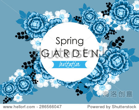 春天花园集合.复古的请柬的美丽的花朵.容易编辑.完美